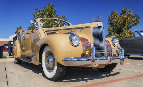 WESTLAKE, TEXAS - OCTOBER 18, 2014: A 1941 Packard 120 (One-Twenty) Convertible Sedan is on display at the 4th Annual Westlake Classic Car Show. Front side view.