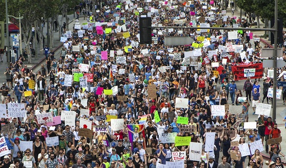 Los Angeles, United States - November 12, 2016: Thousands of Angelenos marched through the streets of Downtown Los Angeles in protest of president-elect Donald Trump.